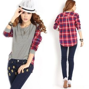 Tops - Long Sleeve High Low Gray Plaid Color Block  Shirt